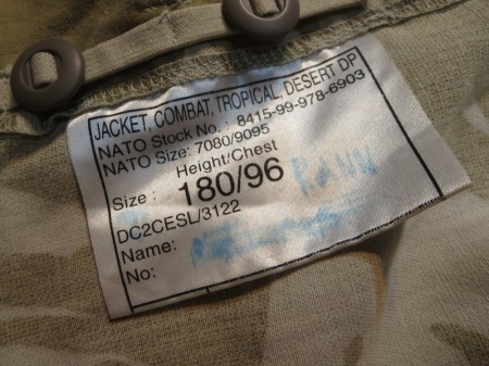 U.K.Jacket Tropical Desert DPM size180/96 used