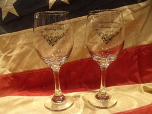 "U.S.NAVY Wine Glass Set 1pair ""USS RONALD REAGAN"""