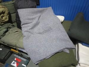 U.S.NAVY Blanket Bed Wool Grey 220cm×165cm used