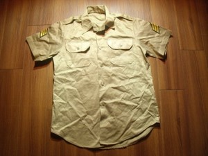 U.S.ARMY Shirt Cotton Khaki 1970年 sizeM used