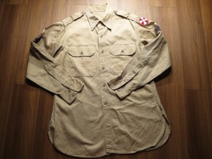 U.S.ARMY Shirt Cotton Khaki 1951年 size15 1/2 used