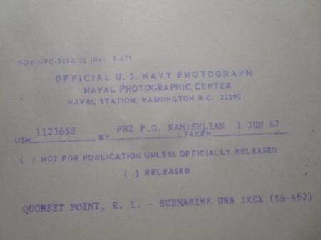 """U.S.NAVY OFFICIAL PHOTO """"USS IREX SS-482"""" 1967年"""