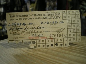 U.S.NAVY TOBACCO RATIONING CARD 1945年