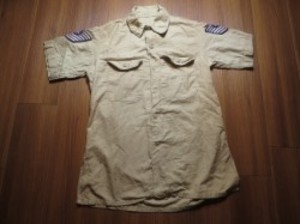 U.S.AIR FORCE Shirt Cotton Tan 1956年 size15 used