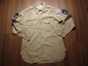U.S.AIR FORCE Shirt Kahki 1950年代? sizeM? used