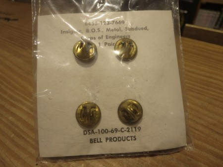 "U.S.Badge Insignia ""CORPS of ENGINEERS"" 1969年 new"