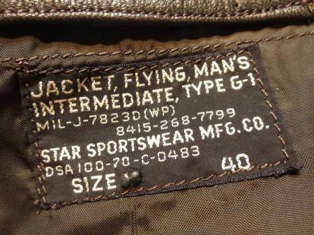 U.S.NAVY G-1 Jacket MIL-J-7823D 1970年 size40 used