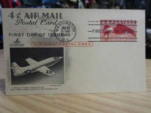 "U.S.AIR FORCE Postal Card ""Bell X-1"" 1949年"