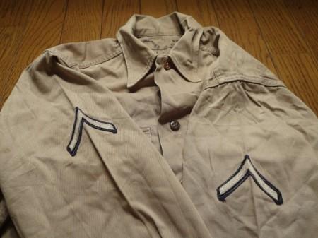 U.S.ARMY Shirt Kahki Cotton 1950年代? sizeM? used