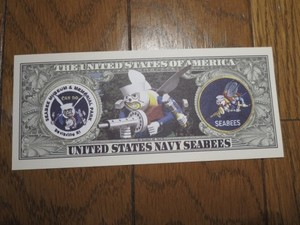 "U.S.NAVY Million Dollar Bill ""SEABEES"" new"