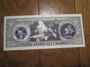 "U.S.NAVY Million Dollar Bill ""SEABEES"" new"