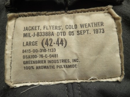 U.S.Jacket MIL-J-83388A(CWU-45/P)1976年 sizeL used