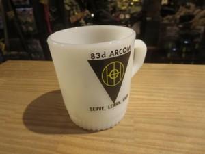 """U.S.ARMY Fire King Mug """"83d ARCOM"""" 1960-70年頃 used"""