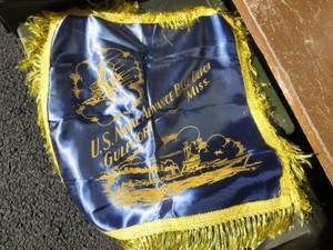 """U.S.NAVY Pillow Cover """"SEABEES"""" 1940年代? used?"""