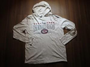 "U.S.NAVY Hooded T-Shirt ""USS RONALD REAGAN"" sizeL"