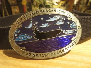 "U.S.NAVY Buckle&Belt ""USS RONALD REAGAN CVN-76"""