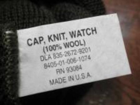 U.S.Watch Cap 100% Wool new Black