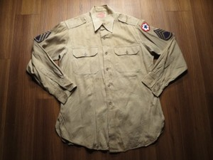 U.S.ARMY Shirt Cotton Khaki 1940年代 sizeL? used